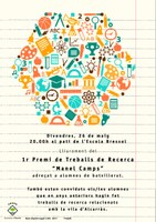 """LLIURAMENT DEL 1R. PREMI DE TREBALLS DE RECERCA """"MANEL CAMPS"""""""