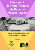 """LLIURAMENT PREMIS TREBALL DE RECERCA """"MANEL CAMPS"""" 3a edició"""