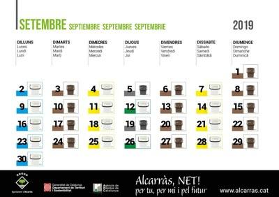 Calendari recollida PAP setembre 2019