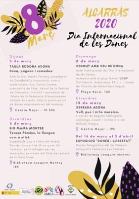 Alcarràs commemora el Dia Internacional de les Dones amb concerts, exposicions i xerrades, una taula rodona i un vermut musical