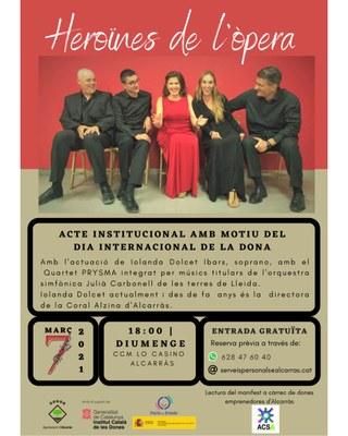 Alcarràs commemora el Dia Internacional de les Dones amb un concert d'Òpera, exposicions, cinema i actes reivindicatius