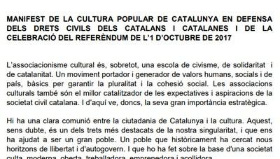 Alcarràs es suma al manifest de la cultura popular en defensa dels drets civils dels catalans i de la celebració del referèndum