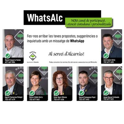El servei WhatsAlc es consolida com a canal de comunicació entre els regidors de l'equip de govern i la ciutadania