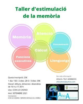 L'Ajuntament d'Alcarràs i Afalca oferiran aquesta tardor un Taller d'Estimulació de la Memòria