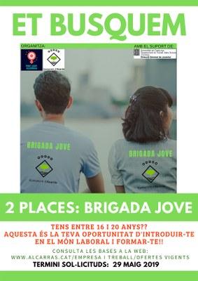 L'Ajuntament d'Alcarràs selecciona dos joves per a la tercera edició del Projecte Brigada Jove 2019