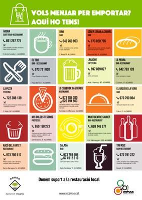 L'Ajuntament elabora un llistat de bars, cafeteries i restaurants que ofereixen el servei de menjar per emportar o recollir
