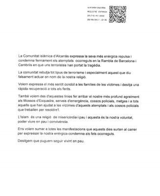 La comunitat islàmica d'Alcarràs condemna en una nota pública els darrers atemptats contra Catalunya i se solidaritza amb víctimes