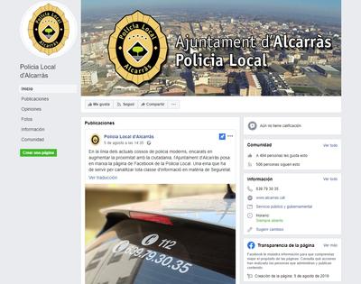 La Policia Local d'Alcarràs estrena pàgina de Facebook